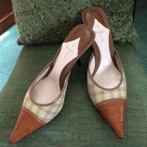 Vintage Linea Paola Leather/Raffia Stiletto Mule